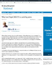 Why lost Flight MH370 is such big news: Sydney Morning Herald
